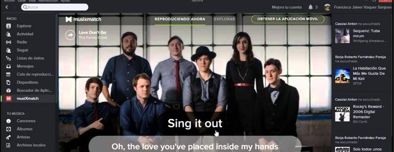 Spotify muestra las letras de las canciones como un karaoke