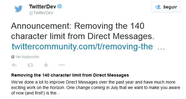Twitter amplia el límite de caracteres en sus mensajes